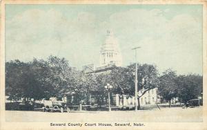 Seward Nebraska~Seward County Court House~Vintage Autos~Blue Tint~1936 Postcard