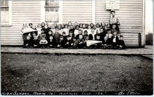 RPPC ROANOAKE, IL Illinois   High School?  GROUP of SCHOOL KIDS 1908    Postcard
