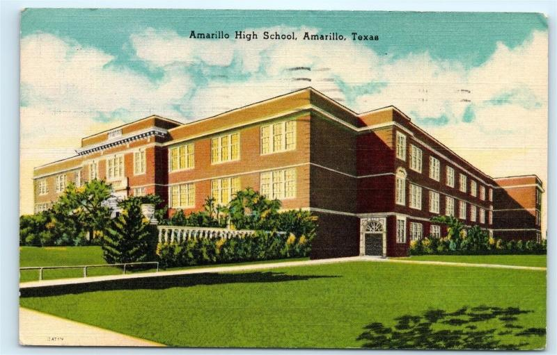 *1940s Amarillo High School Building Amarillo Texas TX Vintage Postcard B98