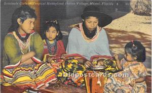 Seminole Girls at Tropical Hobbyland Indian Village Miami, Florida, FL, USA U...