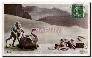 Old Postcard Fancy Happy New Year 1910 1909 Swan Swan