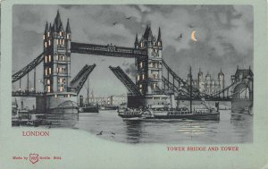 Tower Bridge and Tower, London, England, Early Hold-to-Light Postcard