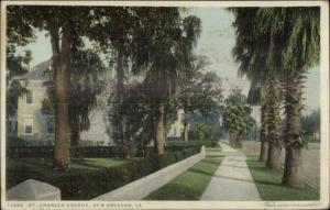 New Orleans LA St. Charles Ave c1910 Detroit Publishing Postcard