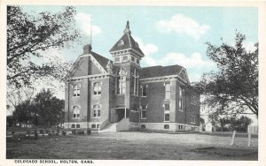 H51/ Holton Kansas Postcard c1910 Colorado School Building