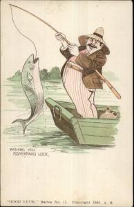 Good Luck Series FISHERMEN'S LUCK Fishing Whiskey Jug in Boat Postcard