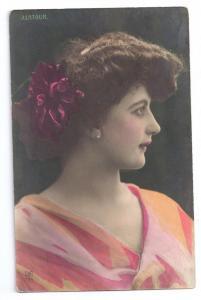 Beautiful Woman Glamour J. Latour 1907 Tinted Pretty Lady