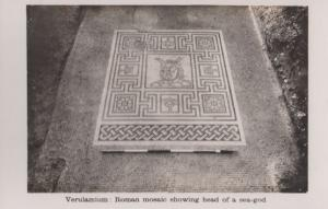 Sea God Mythology Mural Roman Mosaic St Albans Hertfordshire Abbey Postcard