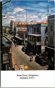 Vintage Bridgetown, BARBADOS West Indes Postcard Broad Street Scene 1960s Unused