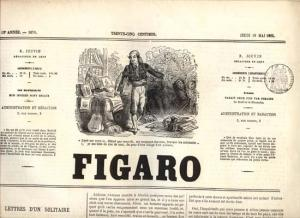Newspaper - 1865 Le Figaro with Revenue, Ads, Vignette