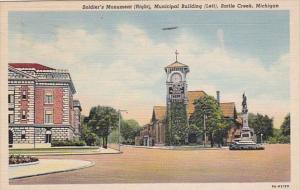 Michigan Battle Creek Soldiers Monument and Municipal Building 1947 Curteich