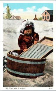ALASKA   CUTE ESKIMO BABY  by  the  WASHTUB    c1940s  Linen    Postcard
