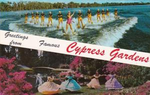 Florida Greetings From Cypress Gardens Showing Esther Williams and Water Skiers