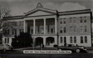 Uvalde TX Court House & Cars Postcard