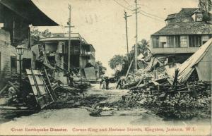 jamaica W.I., KINGSTON, Earthquake, Corner King & Harbour Street (1908) Postcard