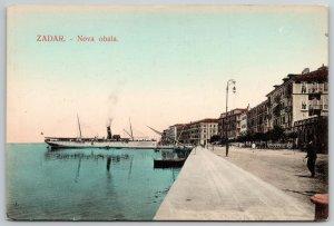 Zadar Croatia~Handcolored: Steamship Arrives @ New Coast (Nova Obala) c1910 PC