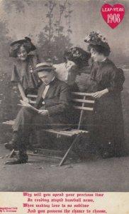 LEAP YEAR, PU-1908; Rhyme, Three women admiring man reading paper