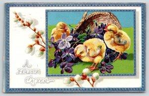 Easter~Chicks Spill Violets Flower Basket~pussy Willows~Silver Blue Border~TUCK