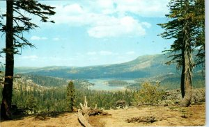 SILVER LAKE, CA California   Birdseye View of LAKE 1960  Amador County  Postcard