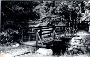 RPPC  OSCODA, MI Michigan   RUSTIC BRIDGE Roadside Park  Hwy 23  1953   Postcard