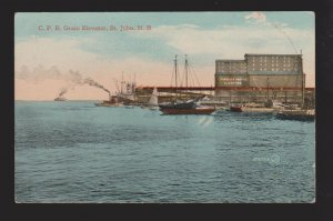 Old Ships At CPR Grain Elevator, St. John NB - 1910s - Unused - Some Wear