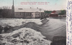 JANESVILLE, Wisconsin,1907; Electric Plant & Upper Dam on Rock River, High Water
