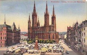 Germany Wiesbaden Evangelische Kirche und Marktplatz