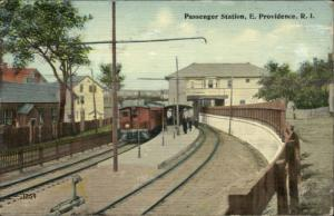 East Providence RI Passenger Station Train c1910 Postcard