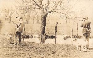 Real Photo Postcard~Hunters With Guns~Take Aim~Hunting Dogs~1912 RPPC