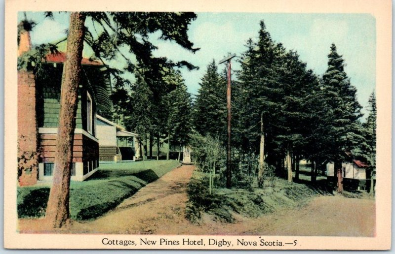 Digby, Nova Scotia Canada Postcard Cottage, New Pines Hotel c1910s Unused