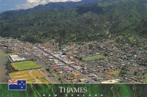 New Zealand Thames Town at the Base of the Coromandel Peninsula Panorama