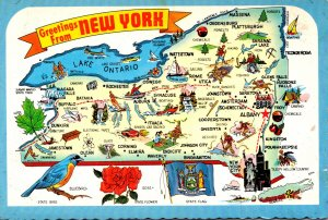 New York Greetings With Map and State Flag Bird Flower and Tree