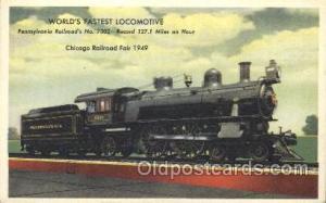 Pennsylvania Railroad Train Trains Locomotive, Steam Engine,  Postcard Postca...