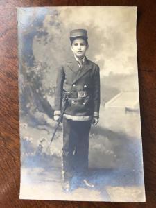 Young Boy In Soldier Uniform & Civil War Bayonet, ashkum, Illinois Z2