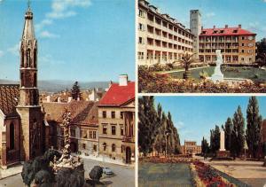 Hungary Udvozlet Sopronbol Sopron Church Statue Auto Car Promenade