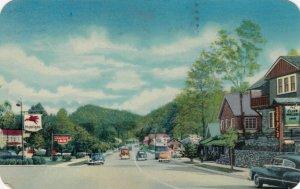 GATLINBURG, Tennessee, PU-1978; Main Street, Mobilgas