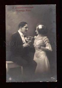 018579 Happy Lovers w/ Champagne. Holiday. Old Photo