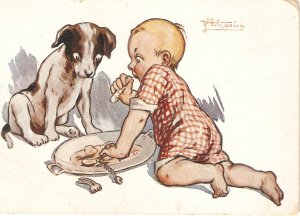 A.Garcia. Baby and dog. Caricature Curious vintage Spanish PC