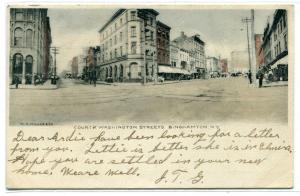 Court & Washington Streets Binghamton New York 1906 postcard