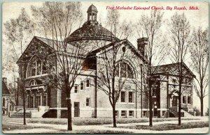 1910s Big Rapids, Michigan Postcard First Methodist Episcopal Church Unused