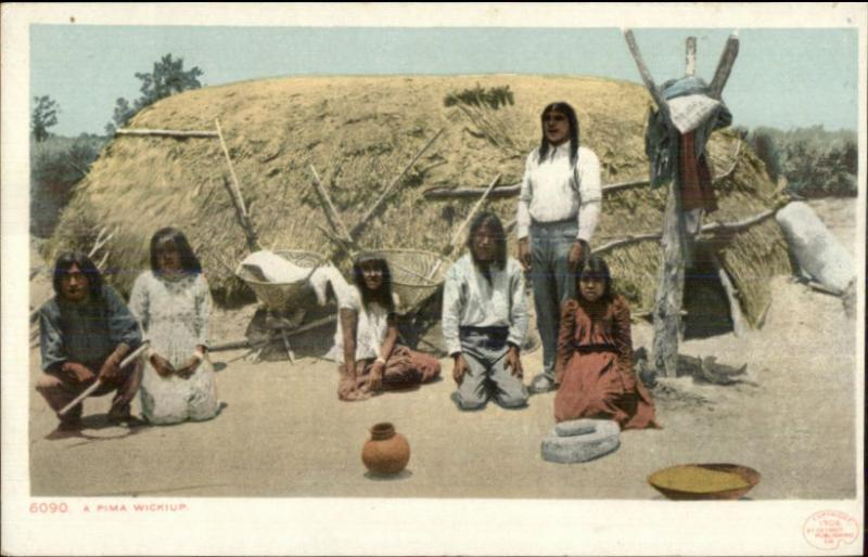 Native Americana - Pima Wickiup Home c1905 Detroit Publishing Postcard