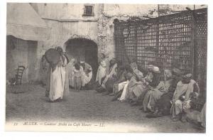Conteur Arabe au Cafe Maure ca 1910 Algiers L.L. Postcard