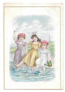 Brussells Victorian Trade Card L Pagnier & Co Pasta Pates Girls Children Ocean