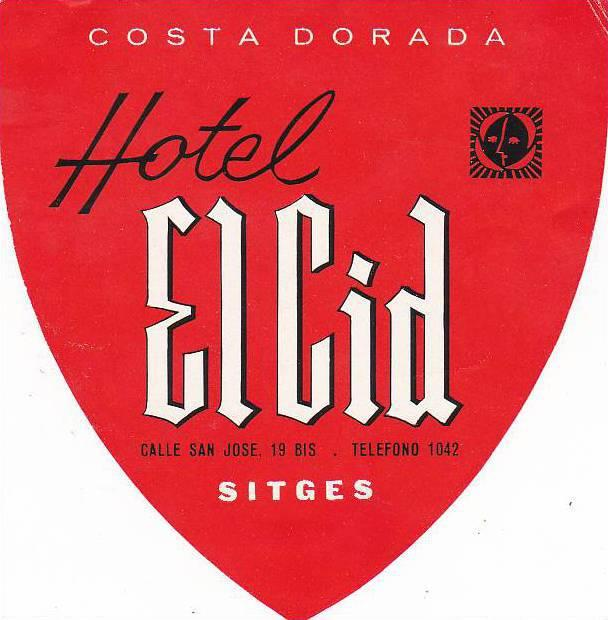 SPAIN SITGES HOTEL EL CID VINTAGE LUGGAGE LABEL