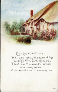 postcard Congratulations Game of life…hearts or diamonds be