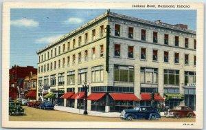 Hammond, Indiana Postcard INDIANA HOTEL Street View Curteich Linen 1948 Cancel