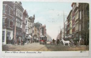 VIEW OF MAIN STREET EVANSVILLE INDIANA 1908 ANTIQUE POSTCARD TROLLEY RAILWAY