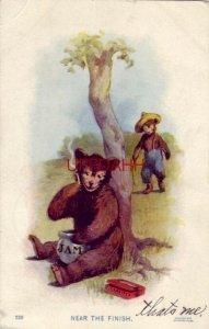 pre-1907 NEAR THE FINISH bear smokes & eats jam while Papa Bear approaches 1907