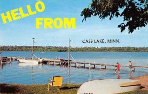 Cass Lake Minnesota Greetings Beach and Pier Vintage Postcard JD933432