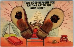 1942 WWII Military Comic Postcard 2 Good Reasons for Resting After a Long Hike