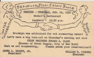 BROOKLYN - INVITATION to meeting of the REAL ESTATE BOARD over conserving water